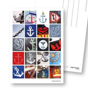 Anker-Postkarte Ankerfest maritime Postkarte mit Ankern Frau Schnobel Grafik Hochkantkarten