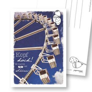 Kopf hoch Aufmunternde Postkarte Frau Schnobel Grafik Hochkantkarten
