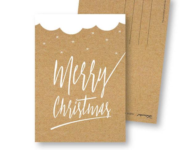 Merry Christmas C schlichte Weihnachts-Postkarte Kraftpapier Optik Frau Schnobel Grafik Hochkantkarten