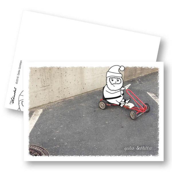 geiler Schlitten Weihnachtskarte Postkarte Frau Schnobel Grafik Hochkantkarten