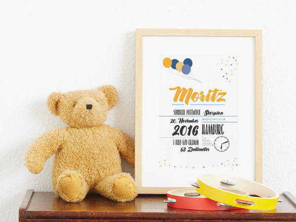 individuelles Baby-Poster Babyanzeige Ballons Geburtsanzeige Babyposter Johanna Moritz A4