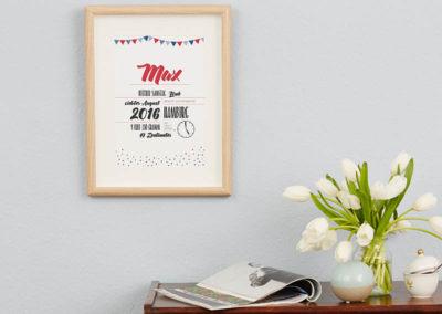 individuelles Baby-Poster Babyanzeige Wimpel Geburtsanzeige Babyposter Johanna Moritz A4
