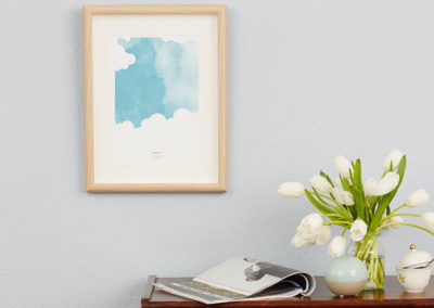 FOUR Elements Air Aquarell A4 vier Elemente Poster Luft Wand Zoom