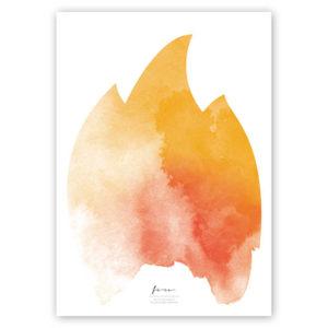 FOUR Elements Fire Aquarell A4 vier Elemente Poster Fire Titel