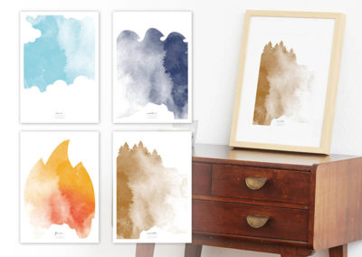 FOUR Elements Earth Aquarell A4 vier Elemente Poster Earth alle Set