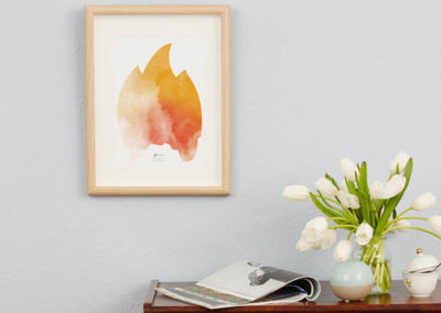 FOUR Elements Fire Aquarell A4 vier Elemente Poster Fire Wand Zoom