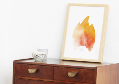 FOUR Elements Fire Aquarell A4 vier Elemente Poster Fire Wand Seite