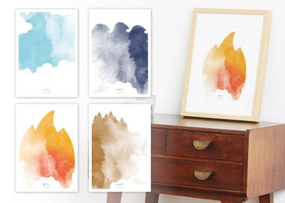 FOUR Elements Fire Aquarell A4 vier Elemente Poster Fire alle