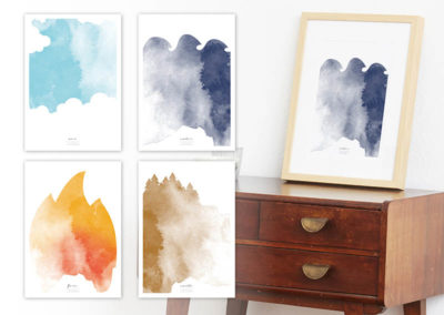 FOUR Elements Water Aquarell A4 vier Elemente Poster Water alle