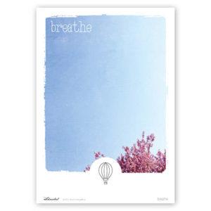 Poster Breathe Typoposter Durchatmen Polaroid Breathe A4 Titel