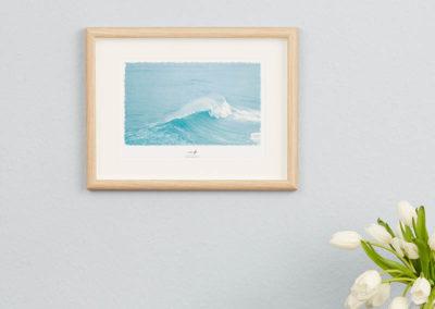 Wellen-Poster Surf maritimes Poster mit Welle hellblau Portugal A4 Wand