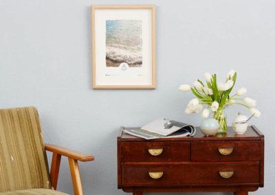 Poster Wellen Meer maritimes Poster Polaroid Typoposter A4 Wand klein