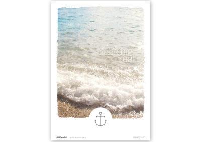 Poster Wellen Meer maritimes Poster Polaroid Typoposter A4 Titel