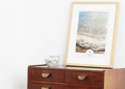 Poster Wellen Meer maritimes Poster Polaroid Typoposter A3 Seite