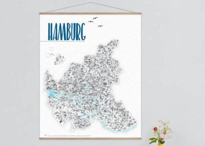 Artprint Hamburg mit magnetischer Posterleiste lang 97cm Hamburgposter Hamburg Poster 97x120cm Rapü Design