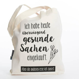 Tasche witziger Baumwollbeutel Shopper Organic Cotton Gesund gesunde Sachen Natur schwarz Titel freigestellt
