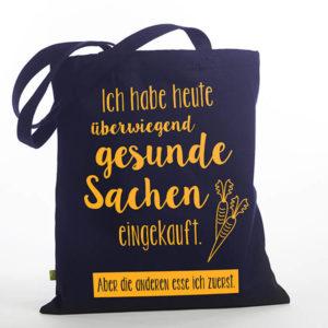 Tasche witziger Baumwollbeutel Shopper Organic Cotton Gesund gesunde Sachen blau gelb Titel freigestellt