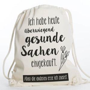 Turnbeutel Gymsac witziger Turnbeutel Organic Cotton Gesund Gesunde Sachen Natur Schwarz Titel freigestellt