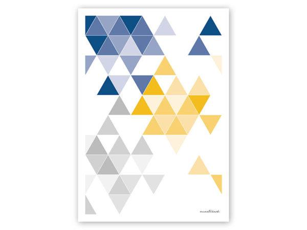 geometrisches Poster minimalistisches Poster Dreiecke Martinesk blau gelb grau A4 Titel