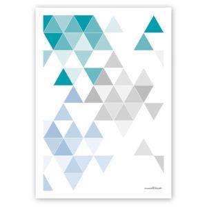 geometrisches Poster minimalistisches Poster Dreiecke Martinesk petrol hellblau grau A4 Titel