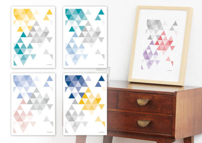 geometrisches Poster minimalistisches Poster Dreiecke Martinesk rot lila grau A4 alle