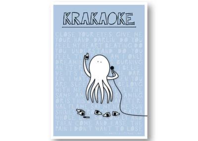 Krakaoke Krake Karaoke Rapü Design Postkarte Hochkantkarten Front