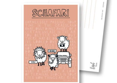 Schafari Schafe Rapü Design Postkarte Hochkantkarten Titel