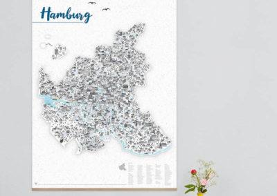 Rapü Design Hamburg Poster Stadtkarte Auflage3 70x100cm blaue Wand