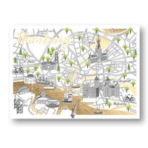 CityProducts Stadt Postkarte Hamburg Straßenkarte Goldfolie
