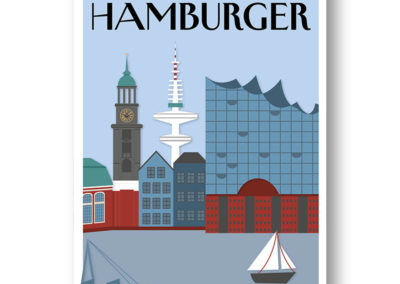 CityProducts Stadt Postkarte Hamburg The Hamburger Skyline