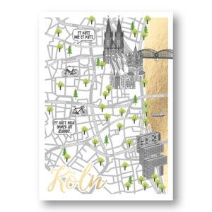 CityProducts Stadt Postkarte Köln Straßenkarte Goldfolie