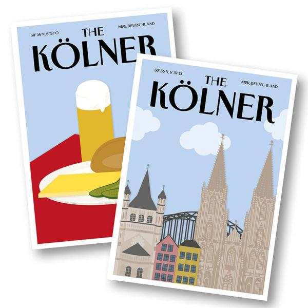 CityProducts Stadt Postkarte Köln The Kölner Skyline Halver Hahn Set