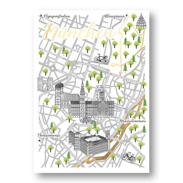 CityProducts Stadt Postkarte München Straßenkarte Goldfolie