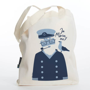 Tasche maritimer Baumwollbeutel Knut & Henry Kapitän Möwe Shopper Organic Cotton Fair Trade Darth Natur blau gestellt