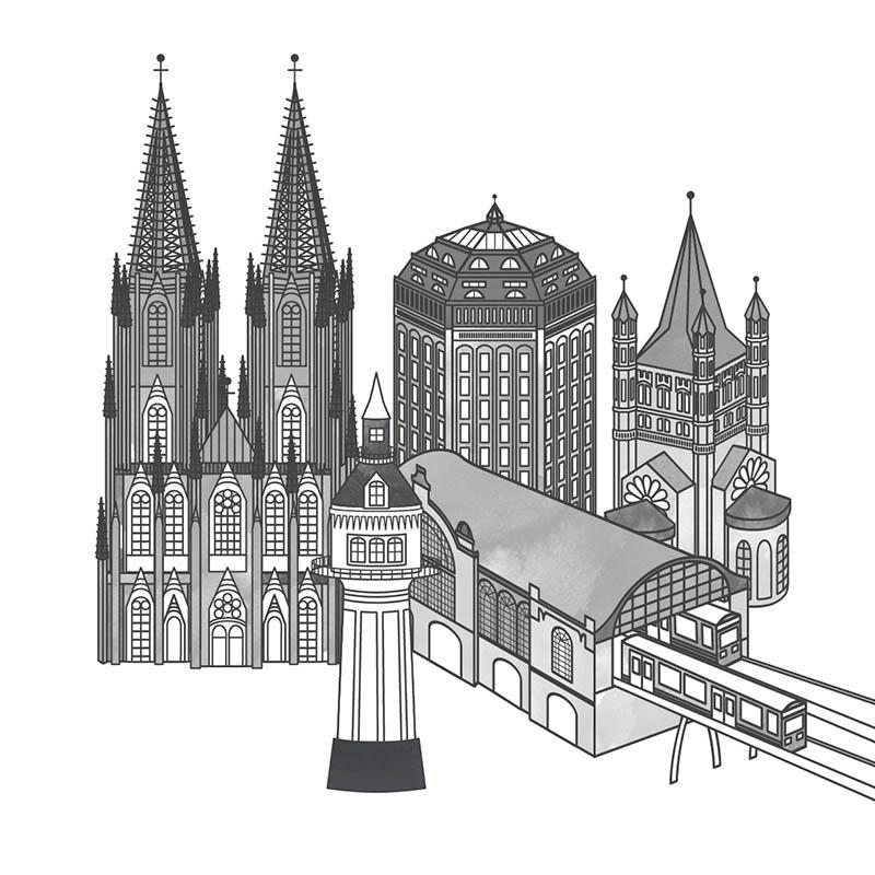 Stadtkarte Gebäude Kölner Dom Schanzenturm Groß St. martin Dammtor Bahnhof Lokstedter Wasserturm