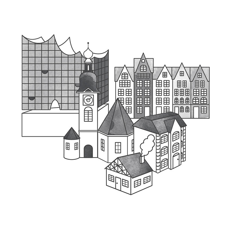 Stadtkarte Gebäude Elbphilharmonie Elphi Illustration Kirche Stapelhäuser