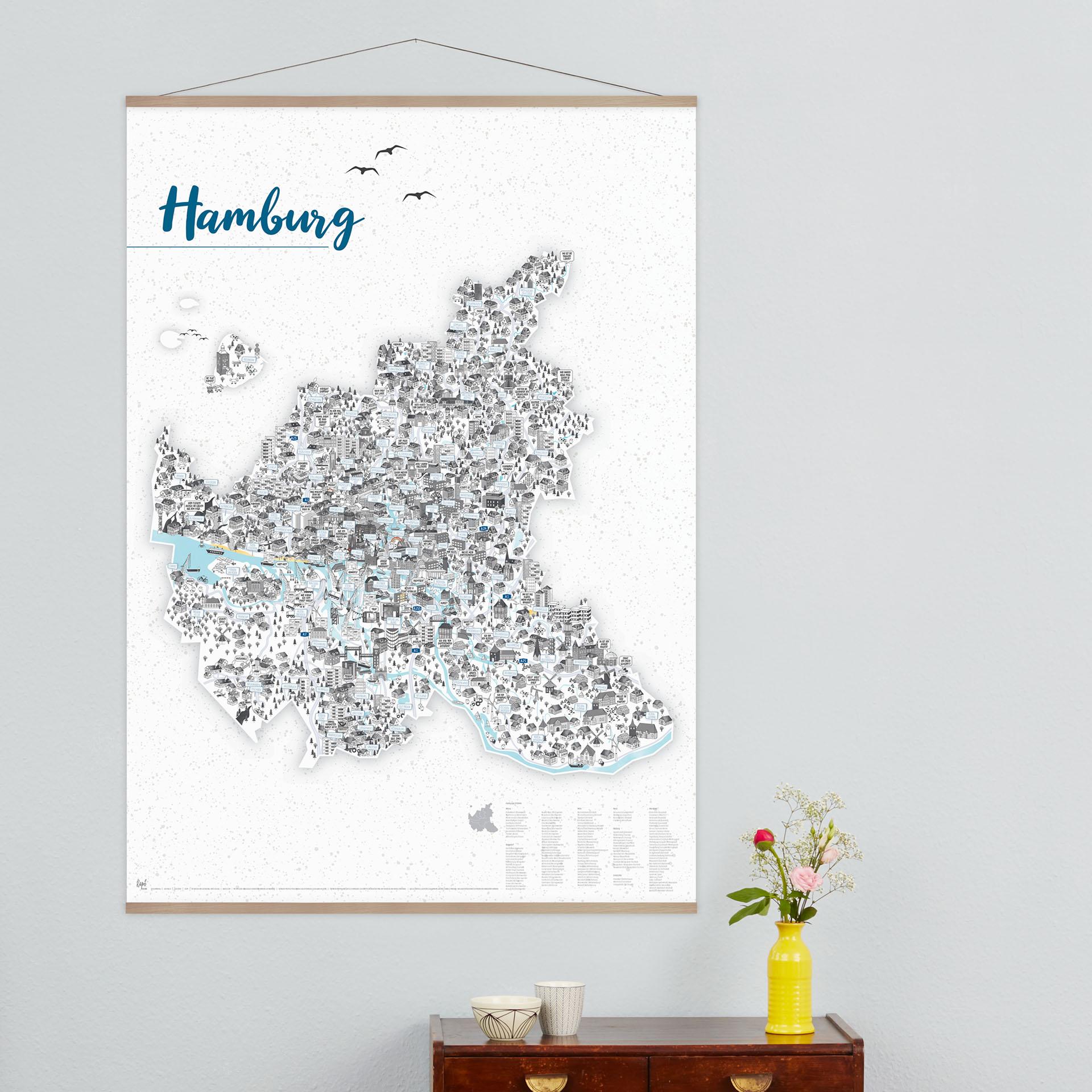 Hamburg Poster Hamburg Stadtteilkarte 70x100cm mo konzept